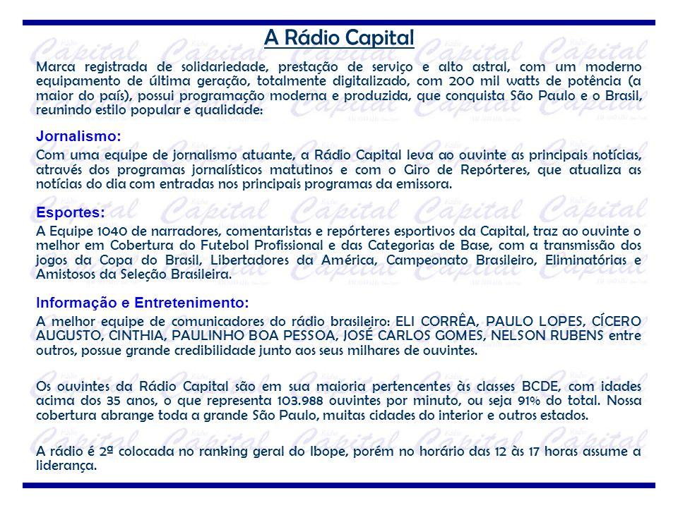 A Rádio Capital Marca registrada de solidariedade, prestação de serviço e alto astral, com um moderno equipamento de última geração, totalmente digita