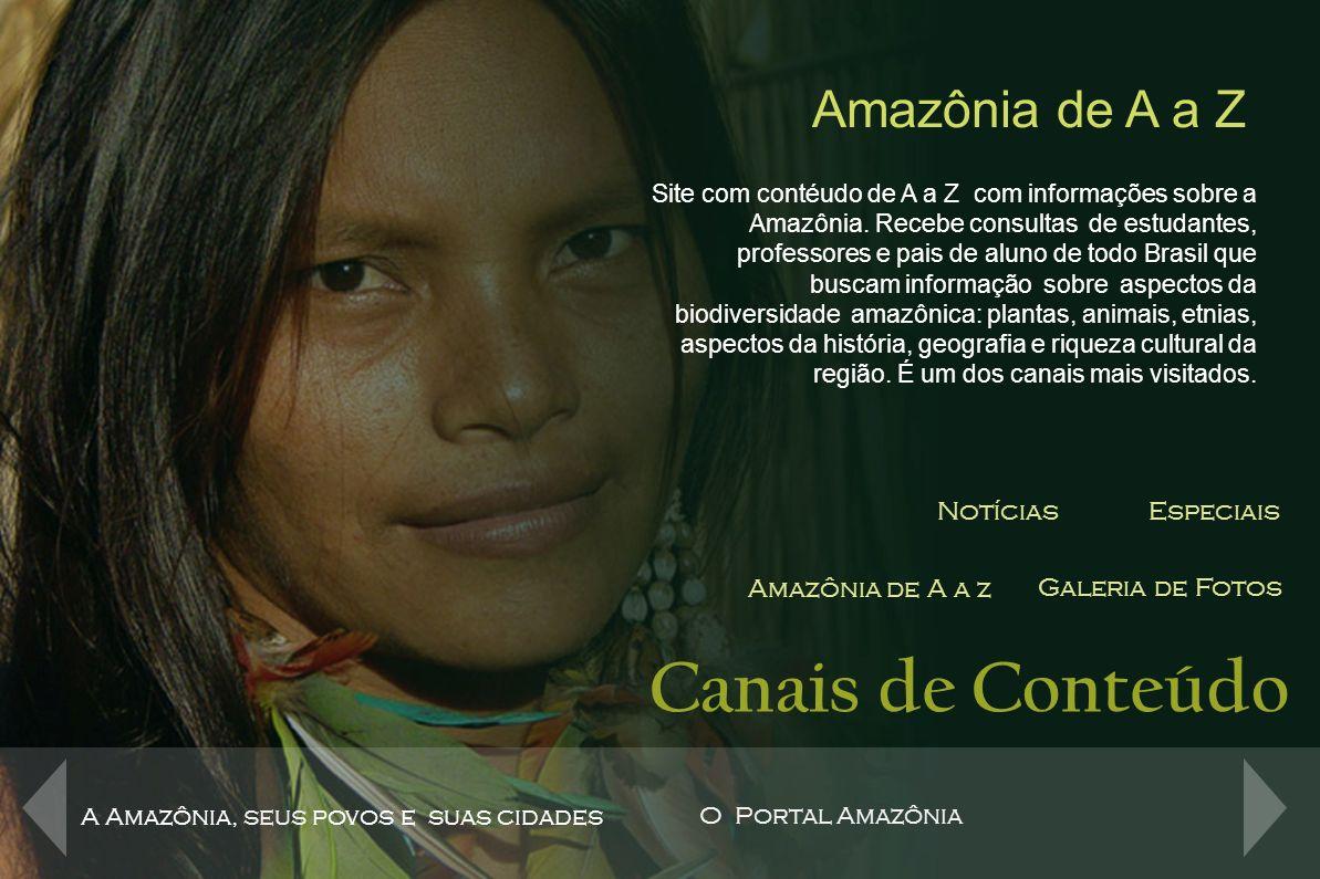 Canais de Conteúdo NotíciasEspeciais Amazônia de A a z Galeria de Fotos A Amazônia se descobre na galeria de fotos do Portal Amazônia.
