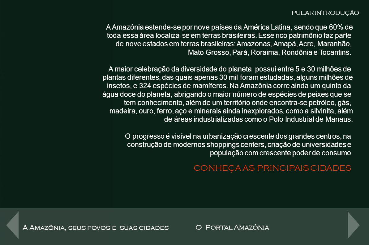 A Amazônia, seus povos e suas cidades O Portal Amazônia Tudo isto está disponível na menor distância possível Um clique PULAR INTRODUÇÃO