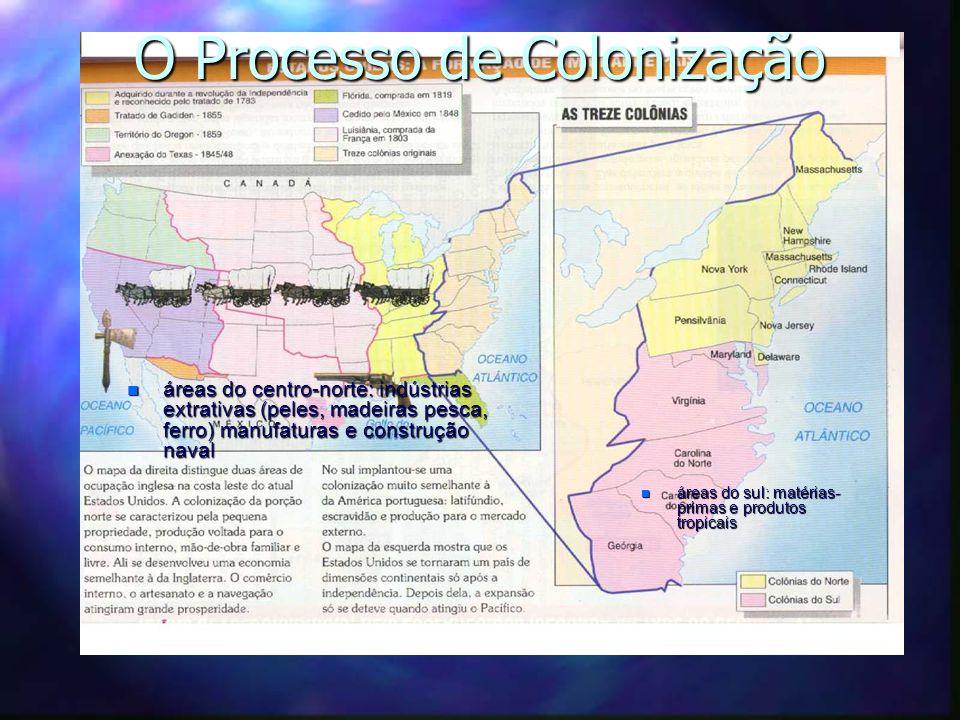 O Processo de Colonização n áreas do centro-norte: indústrias extrativas (peles, madeiras pesca, ferro) manufaturas e construção naval n áreas do sul: matérias- primas e produtos tropicais