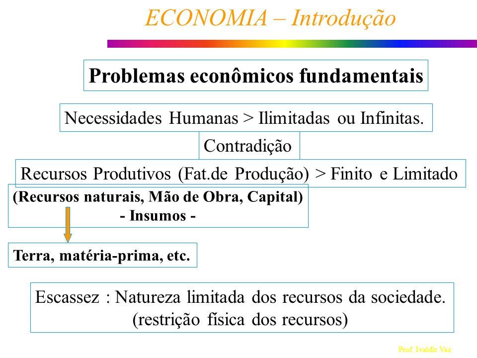Prof. Ivaldir Vaz ECONOMIA – Introdução 1 Problemas econômicos fundamentais Necessidades Humanas > Ilimitadas ou Infinitas. Recursos Produtivos (Fat.d