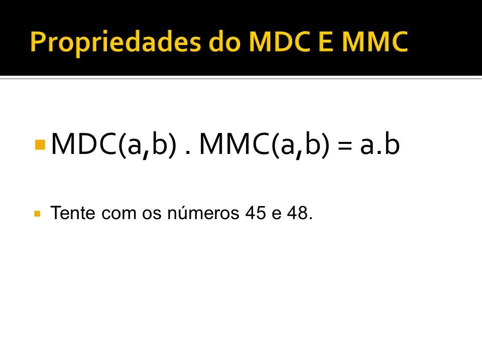 MDC(a,b). MMC(a,b) = a.b Tente com os números 45 e 48.