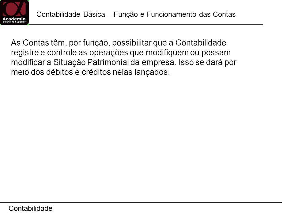 Contabilidade Contabilidade Básica – Função e Funcionamento das Contas Contabilidade As Contas têm, por função, possibilitar que a Contabilidade regis