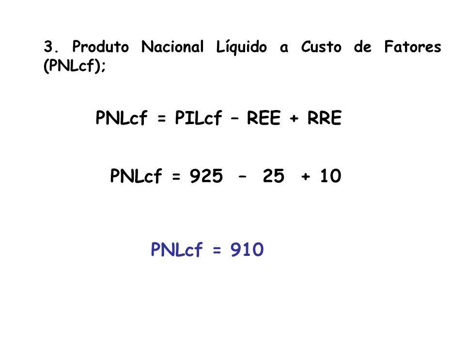 4. Renda Interna a Custo de Fatores (RILcf); RILcf = PILcf Se PILcf = 925 RILcf = 925