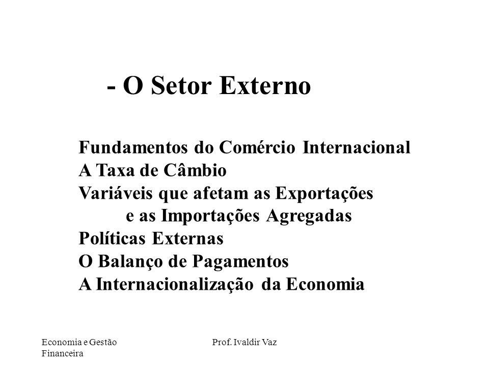 Economia e Gestão Financeira Prof. Ivaldir Vaz Fundamentos do Comércio Internacional A Taxa de Câmbio Variáveis que afetam as Exportações e as Importa