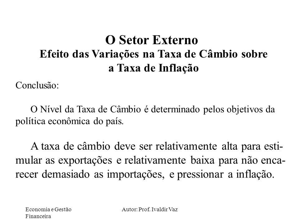 Economia e Gestão Financeira Autor: Prof. Ivaldir Vaz O Setor Externo Efeito das Variações na Taxa de Câmbio sobre a Taxa de Inflação Conclusão: O Nív