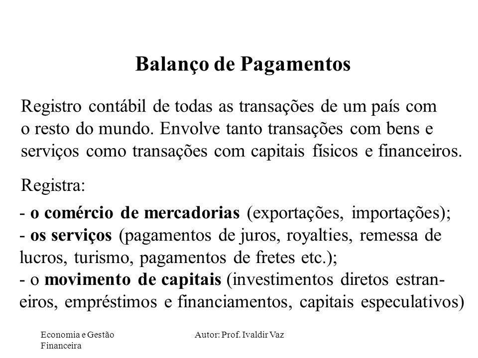 Economia e Gestão Financeira Autor: Prof. Ivaldir Vaz Balanço de Pagamentos Registro contábil de todas as transações de um país com o resto do mundo.