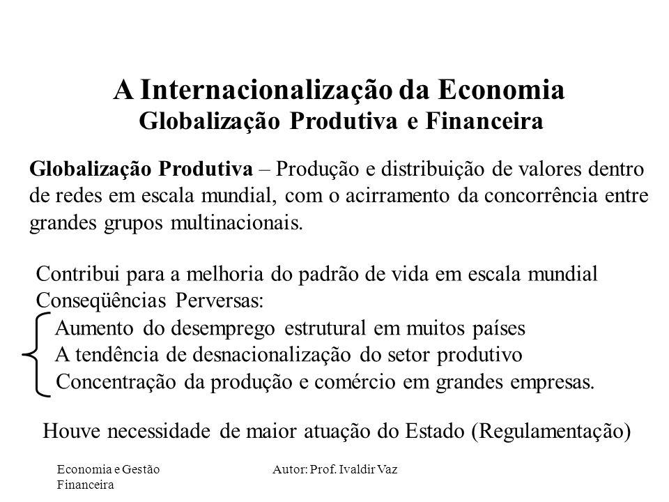 Economia e Gestão Financeira Autor: Prof. Ivaldir Vaz A Internacionalização da Economia Globalização Produtiva e Financeira Globalização Produtiva – P