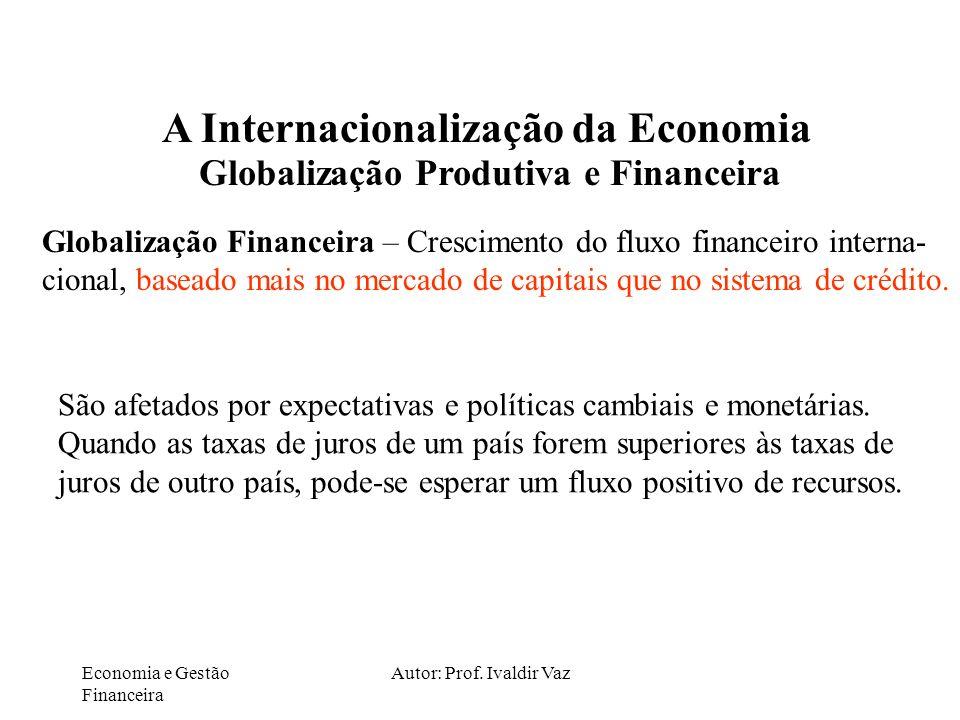 Economia e Gestão Financeira Autor: Prof. Ivaldir Vaz A Internacionalização da Economia Globalização Produtiva e Financeira Globalização Financeira –