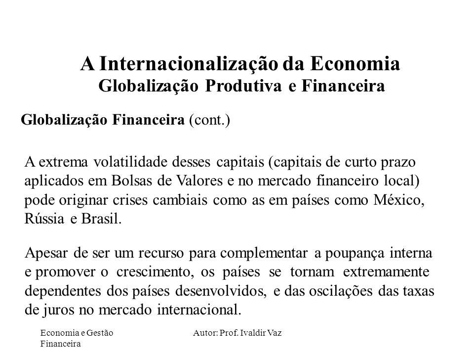 Economia e Gestão Financeira Autor: Prof. Ivaldir Vaz A Internacionalização da Economia Globalização Produtiva e Financeira Globalização Financeira (c