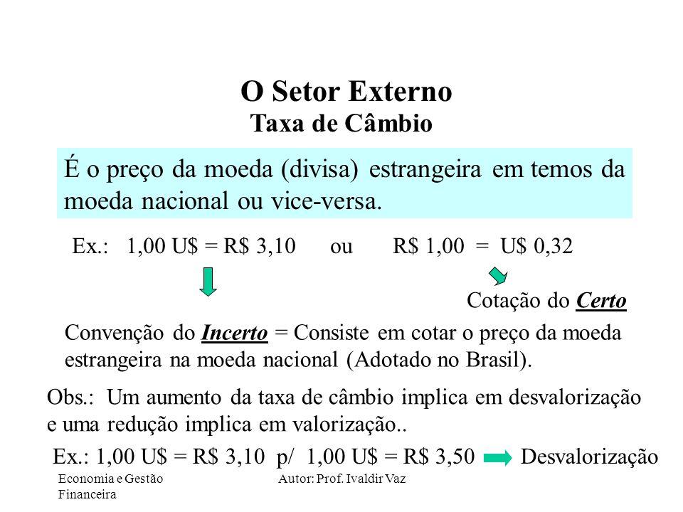 Economia e Gestão Financeira Autor: Prof. Ivaldir Vaz O Setor Externo Taxa de Câmbio É o preço da moeda (divisa) estrangeira em temos da moeda naciona