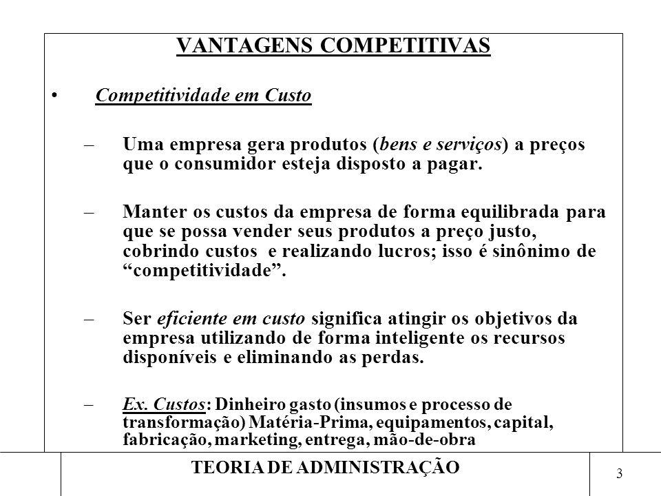 3 TEORIA DE ADMINISTRAÇÃO VANTAGENS COMPETITIVAS Competitividade em Custo –Uma empresa gera produtos (bens e serviços) a preços que o consumidor estej