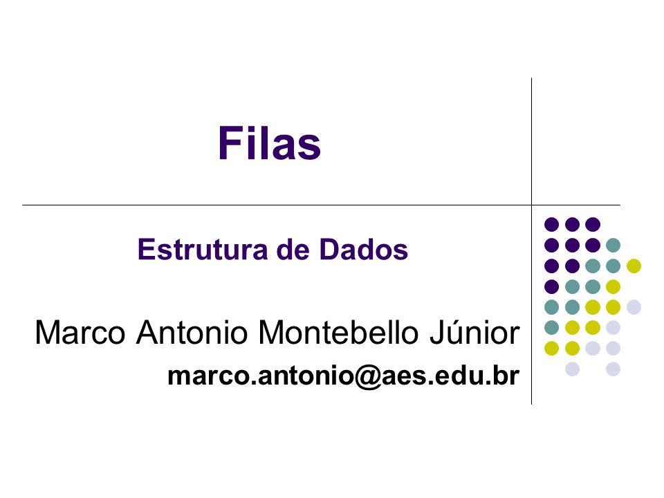 Filas Marco Antonio Montebello Júnior marco.antonio@aes.edu.br Estrutura de Dados