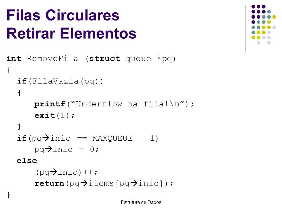 Estrutura de Dados Filas Circulares Retirar Elementos int RemoveFila (struct queue *pq) { if(FilaVazia(pq)) { printf(Underflow na fila!\n); exit(1); }