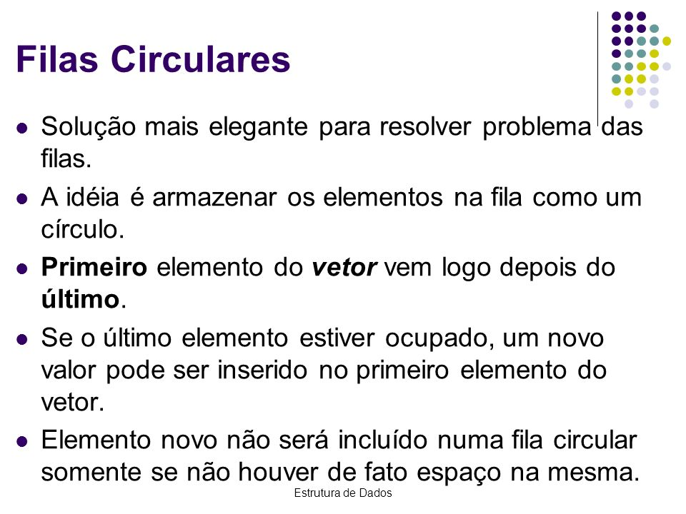 Estrutura de Dados Filas Circulares No momento (4), q.fim < q.inic (1 < 4), é verdadeira – fila vazia.
