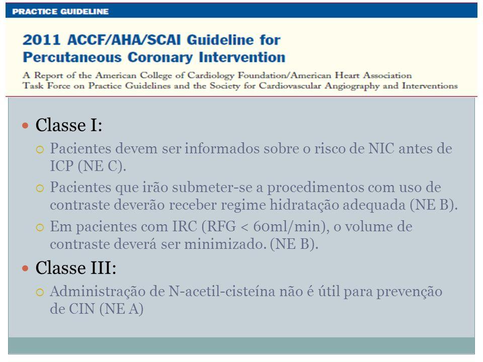 Classe I: Pacientes devem ser informados sobre o risco de NIC antes de ICP (NE C). Pacientes que irão submeter-se a procedimentos com uso de contraste