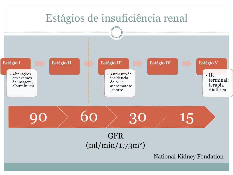 Estágios de insuficiência renal Estágio I Alterãções em exames de imagem, albuminúria Estágio IIEstágio III Aumento da incidência de NIC; ateromatose,
