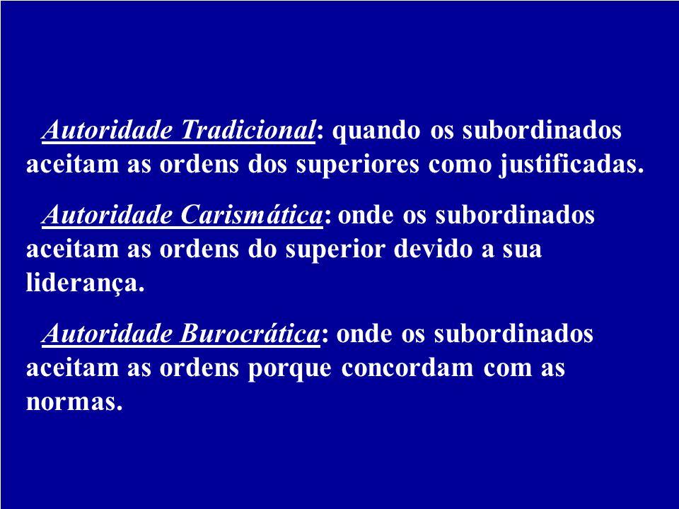 Tipos de Autoridade - Autoridade Tradicional: quando os subordinados aceitam as ordens dos superiores como justificadas. - Autoridade Carismática: ond