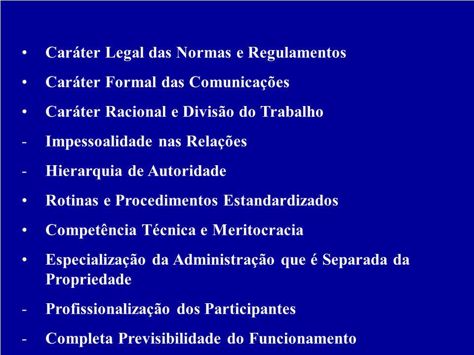 Características da Burocracia Segundo Weber: Caráter Legal das Normas e Regulamentos Caráter Formal das Comunicações Caráter Racional e Divisão do Tra