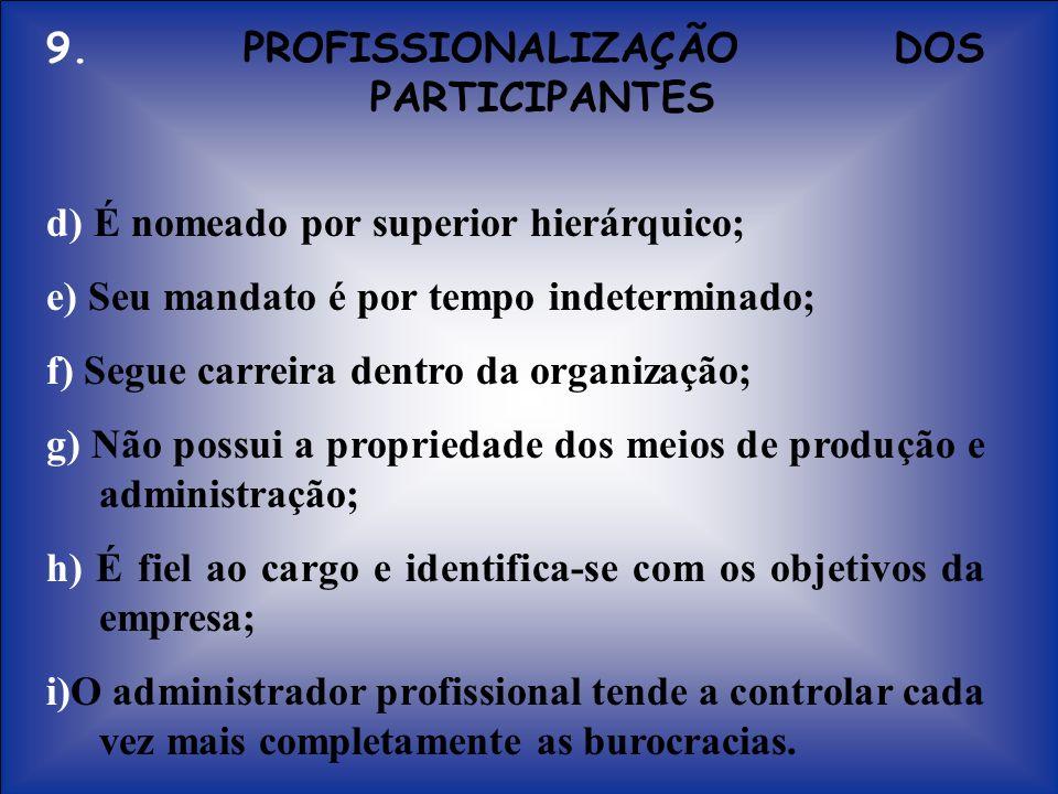 9. PROFISSIONALIZAÇÃO DOS PARTICIPANTES d) É nomeado por superior hierárquico; e) Seu mandato é por tempo indeterminado; f) Segue carreira dentro da o