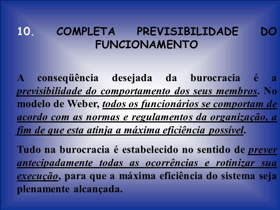 10. COMPLETA PREVISIBILIDADE DO FUNCIONAMENTO A conseqüência desejada da burocracia é a previsibilidade do comportamento dos seus membros. No modelo d