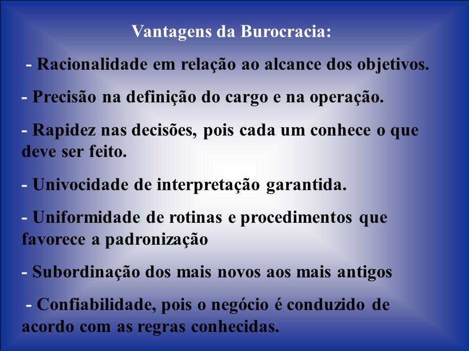 Vantagens da Burocracia: - Racionalidade em relação ao alcance dos objetivos. - Precisão na definição do cargo e na operação. - Rapidez nas decisões,