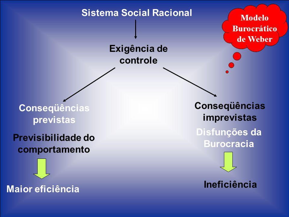 Sistema Social Racional Exigência de controle Conseqüências previstas Previsibilidade do comportamento Maior eficiência Conseqüências imprevistas Disf