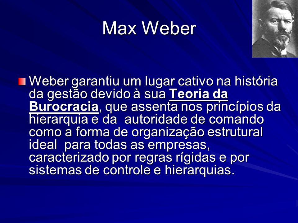 Max Weber Weber garantiu um lugar cativo na história da gestão devido à sua Teoria da Burocracia, que assenta nos princípios da hierarquia e da autori