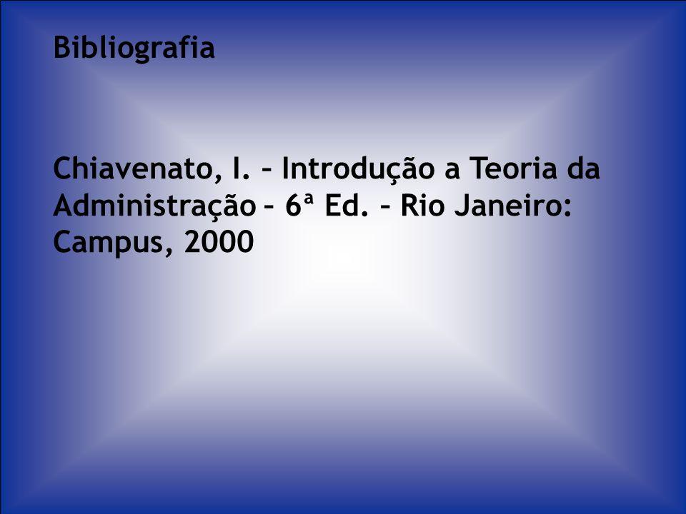 Bibliografia Chiavenato, I. – Introdução a Teoria da Administração – 6ª Ed. – Rio Janeiro: Campus, 2000