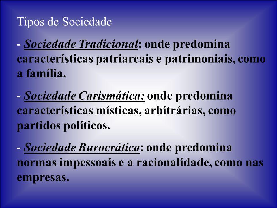 Tipos de Sociedade - Sociedade Tradicional: onde predomina características patriarcais e patrimoniais, como a família. - Sociedade Carismática: onde p