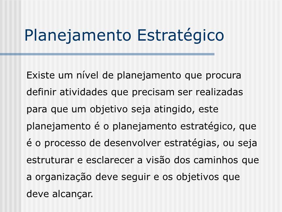 Planejamento Estratégico Existe um nível de planejamento que procura definir atividades que precisam ser realizadas para que um objetivo seja atingido