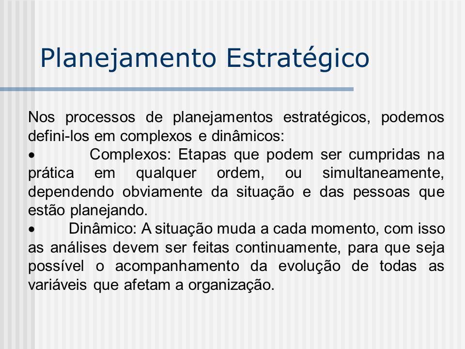 Nos processos de planejamentos estratégicos, podemos defini-los em complexos e dinâmicos: Complexos: Etapas que podem ser cumpridas na prática em qual