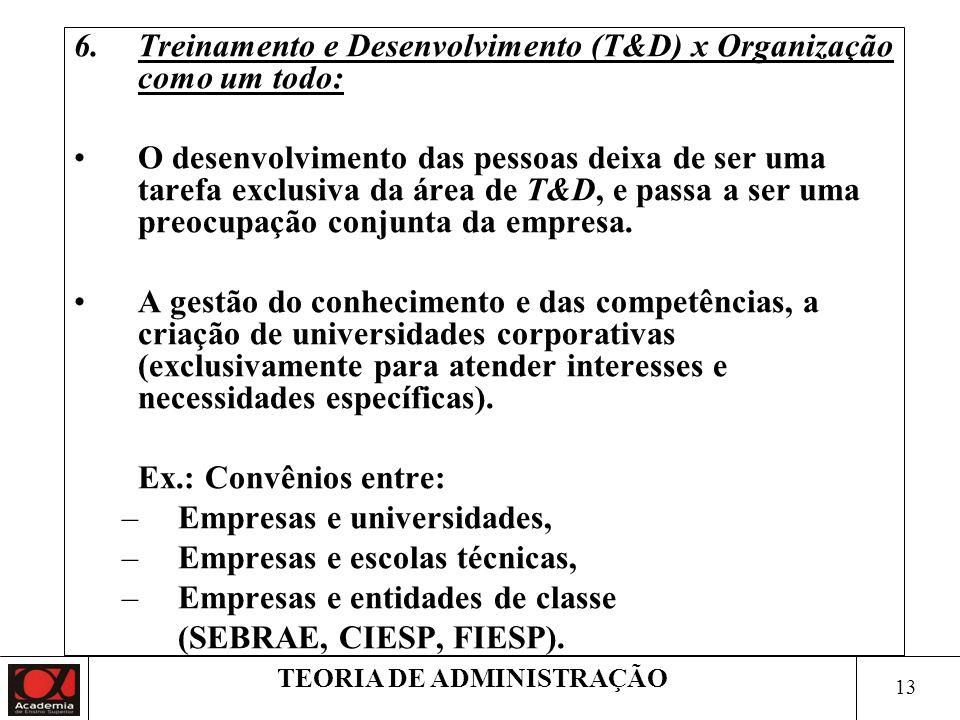 13 TEORIA DE ADMINISTRAÇÃO 6.Treinamento e Desenvolvimento (T&D) x Organização como um todo: O desenvolvimento das pessoas deixa de ser uma tarefa exc