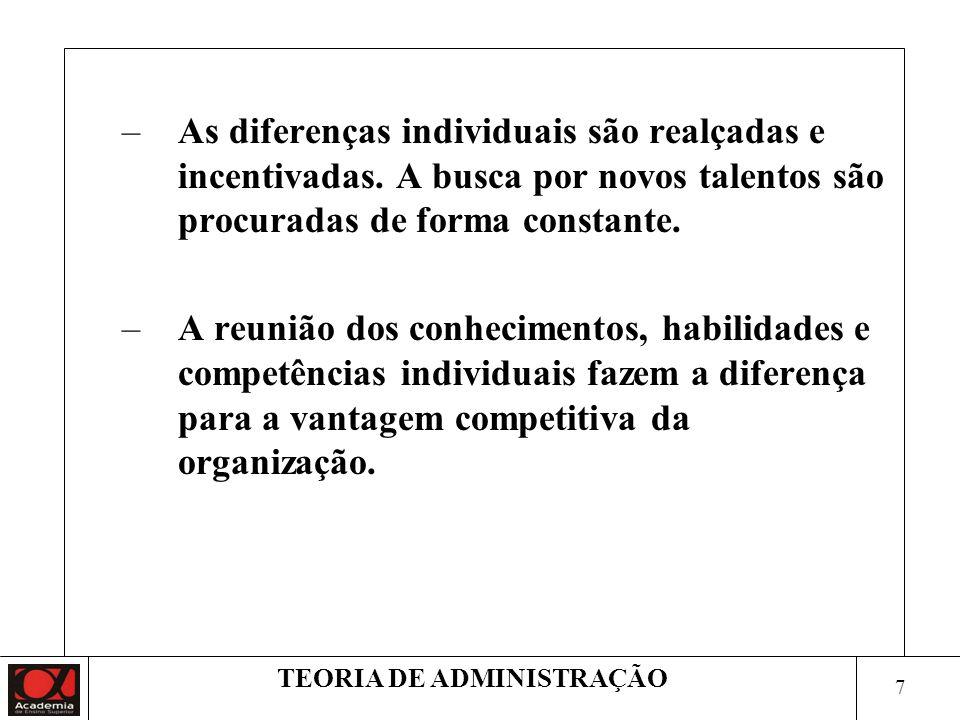 8 TEORIA DE ADMINISTRAÇÃO 3.Trabalho individual x trabalho em equipe O trabalho deixa de ser individualizado, solitário e isolado para se transformar em atividade grupal, solidária e conjunta.