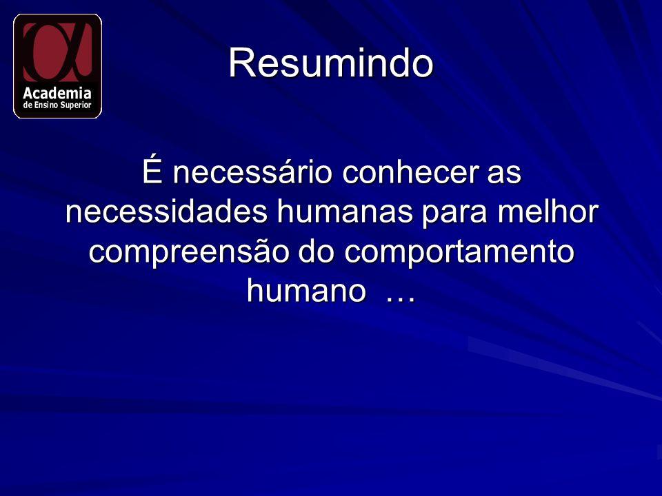 Resumindo É necessário conhecer as necessidades humanas para melhor compreensão do comportamento humano …