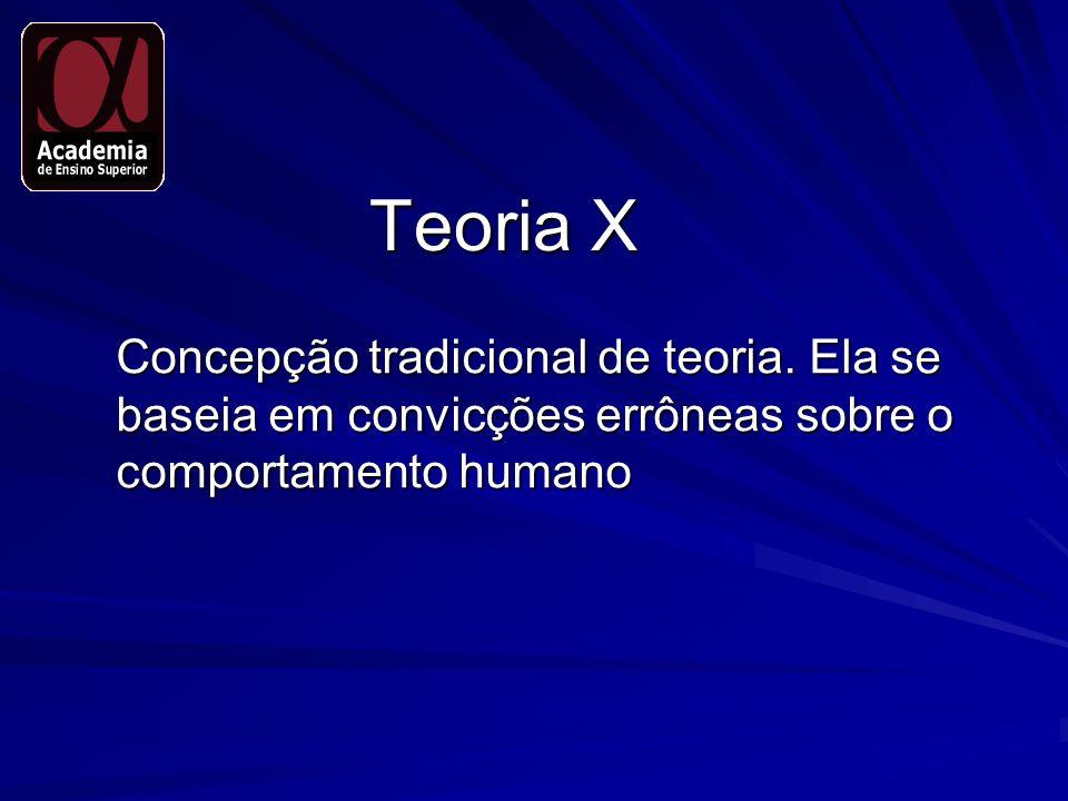 Teoria X Concepção tradicional de teoria. Ela se baseia em convicções errôneas sobre o comportamento humano