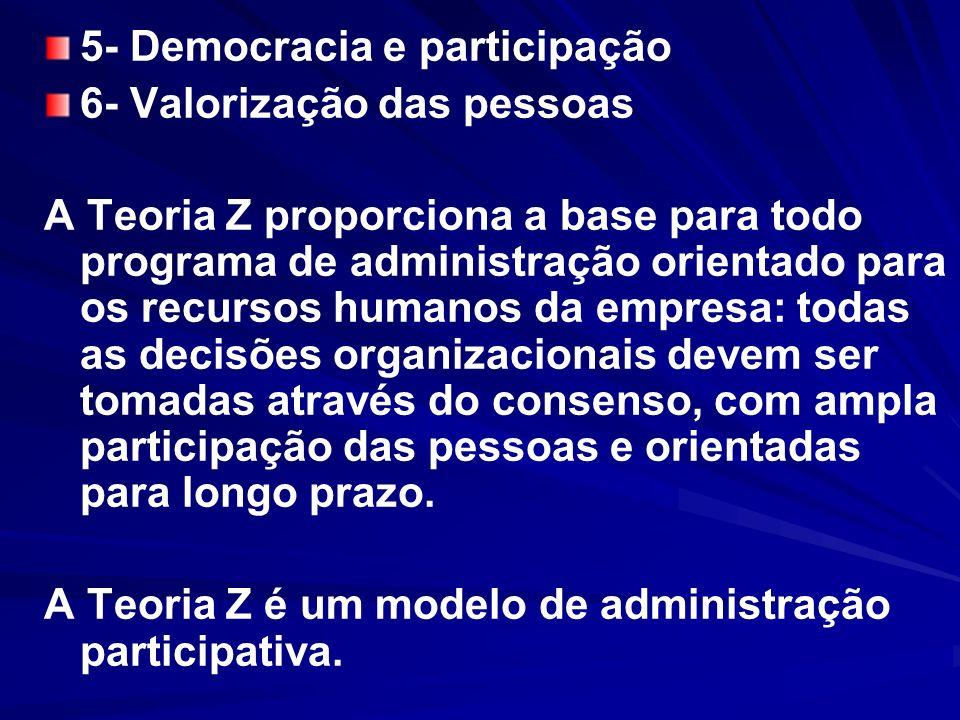 5- Democracia e participação 6- Valorização das pessoas A Teoria Z proporciona a base para todo programa de administração orientado para os recursos h