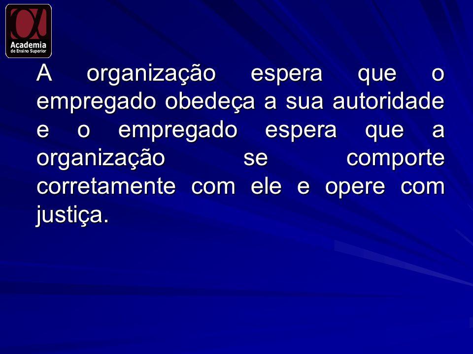 A organização espera que o empregado obedeça a sua autoridade e o empregado espera que a organização se comporte corretamente com ele e opere com just