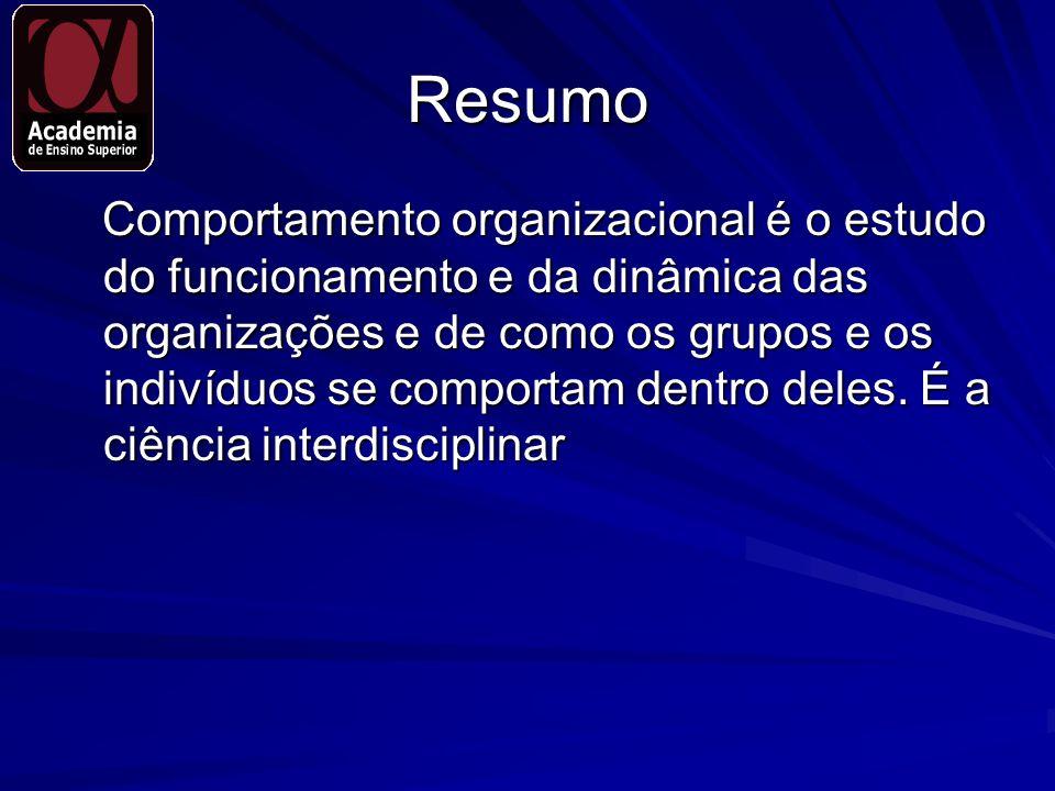 Resumo Comportamento organizacional é o estudo do funcionamento e da dinâmica das organizações e de como os grupos e os indivíduos se comportam dentro
