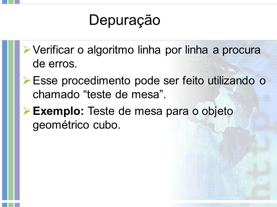 Depuração Verificar o algoritmo linha por linha a procura de erros. Esse procedimento pode ser feito utilizando o chamado teste de mesa. Exemplo: Test