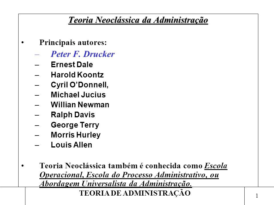 1 TEORIA DE ADMINISTRAÇÃO Teoria Neoclássica da Administração Principais autores: –Peter F. Drucker –Ernest Dale –Harold Koontz –Cyril ODonnell, –Mich