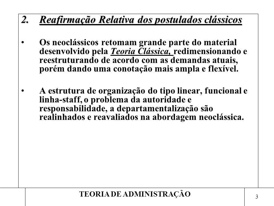 3 TEORIA DE ADMINISTRAÇÃO 2.Reafirmação Relativa dos postulados clássicos Os neoclássicos retomam grande parte do material desenvolvido pela Teoria Cl