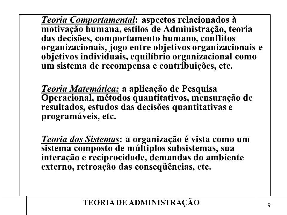 9 TEORIA DE ADMINISTRAÇÃO Teoria Comportamental: aspectos relacionados à motivação humana, estilos de Administração, teoria das decisões, comportament