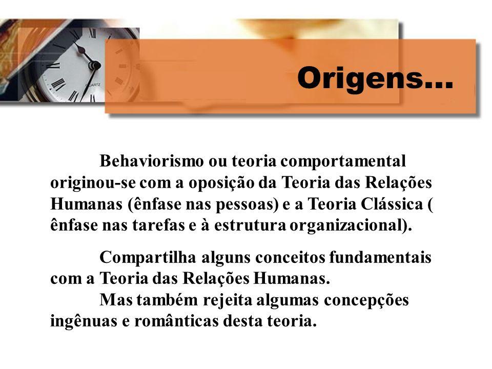 Origens... Behaviorismo ou teoria comportamental originou-se com a oposição da Teoria das Relações Humanas (ênfase nas pessoas) e a Teoria Clássica (