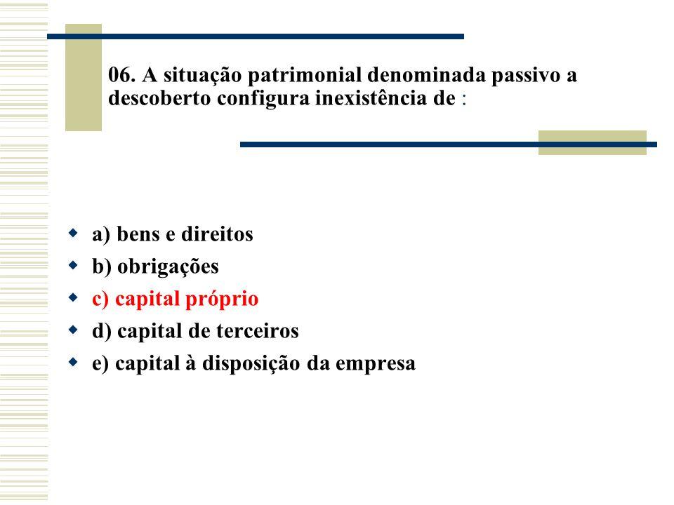 06. A situação patrimonial denominada passivo a descoberto configura inexistência de : a) bens e direitos b) obrigações c) capital próprio d) capital