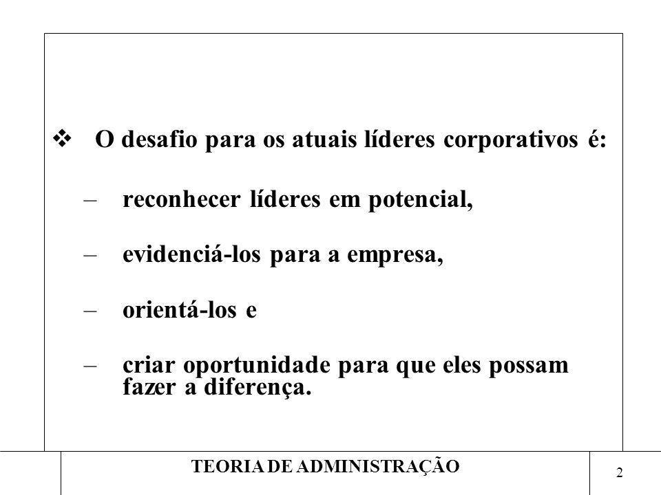 2 TEORIA DE ADMINISTRAÇÃO O desafio para os atuais líderes corporativos é: –reconhecer líderes em potencial, –evidenciá-los para a empresa, –orientá-l