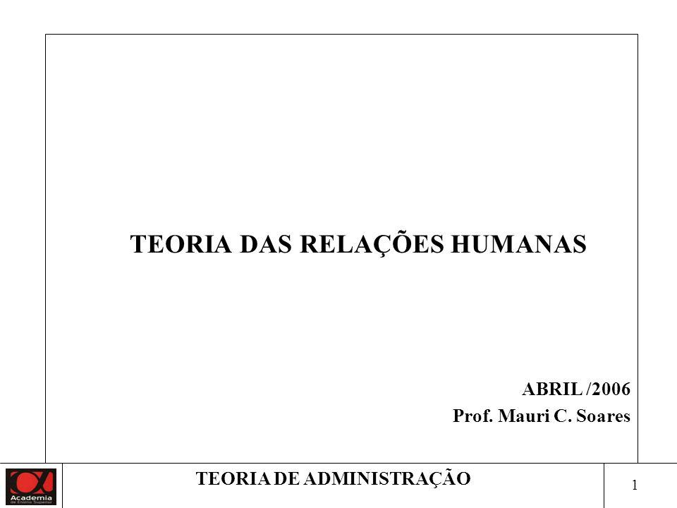 21 TEORIA DE ADMINISTRAÇÃO 3ª Fase – Experiência de Hawthorne 1928 - Objetivo: estudar as relações humanas do trabalho.