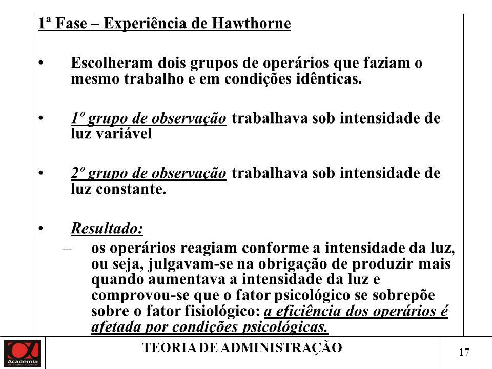 16 TEORIA DE ADMINISTRAÇÃO 1927- 1932 –Experiência de Hawthorne Avaliações feitas durante o processo: –Fadiga, –Acidentes de trabalho, –Rotatividade d