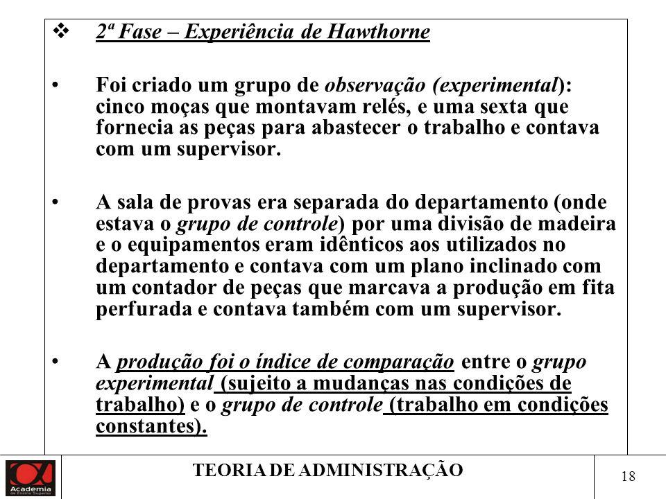 17 TEORIA DE ADMINISTRAÇÃO 1ª Fase – Experiência de Hawthorne Escolheram dois grupos de operários que faziam o mesmo trabalho e em condições idênticas