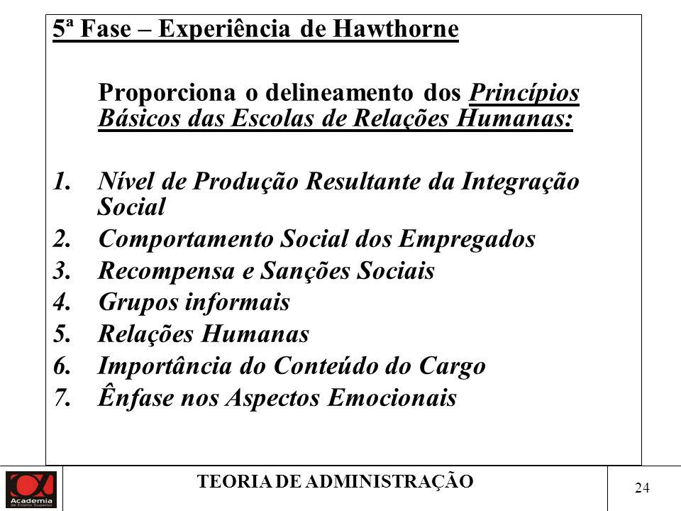 23 TEORIA DE ADMINISTRAÇÃO 4ª Fase – Experiência de Hawthorne Objetivo: analisar a organização informal do grupo Considerações: O sistema de pagamento